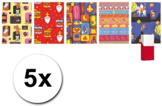 5 rollen Sinterklaas kadopapier 200 x 70 cm - Sint inpakpapier / cadeaupapier