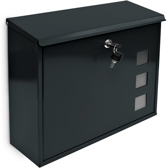 relaxdays Wand brievenbus metaal - Keuze uit kleur rood groen zilver zwart - 34,5x33 cm.