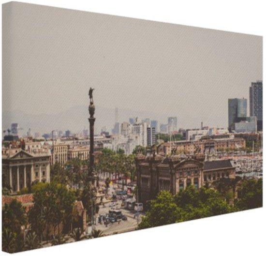Columbus standbeeld in Barcelona Canvas 30x20 cm - Foto print op Canvas schilderij (Wanddecoratie)