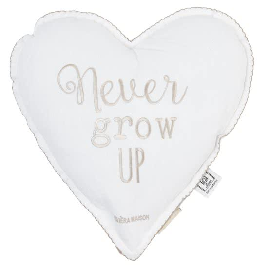 Rivièra Maison - Never Grow Up Heart Pillow  - Sierkussen - Wit - Katoen