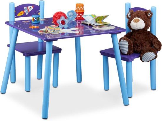 2 Stoelen En Tafeltje.Relaxdays Kindertafeltje Met 2 Stoelen Hout Tafeltje Stoeltjes Blauw