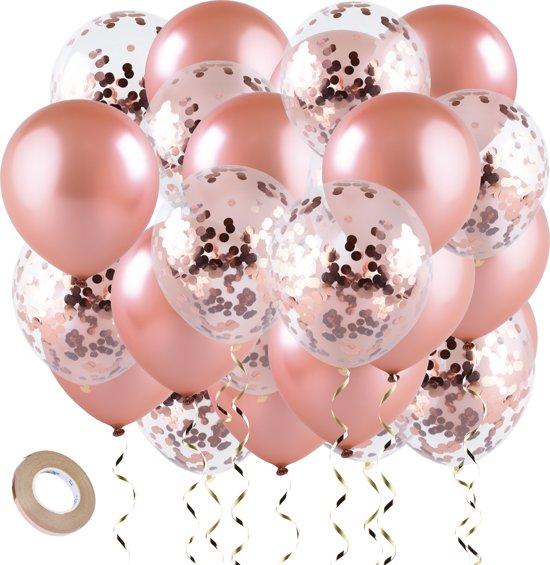 Ballonnen decoratie / versiering DELUXE | 20 stuks | XL | Rose goud | Confetti Latex ballon | Bruiloft / verjaardag / feest / feestje / party | helium geschikt | verjaardag 1 / 16 / 18 / 21 / 30 / 40 / 50 jaar | geslaagd | party accessoires
