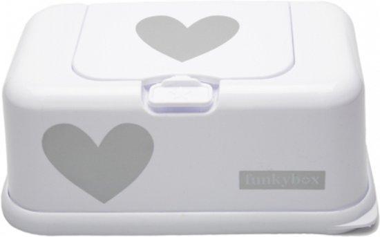 Funkybox - Billendoekjes Doosje - Wit Met Zilveren Hart