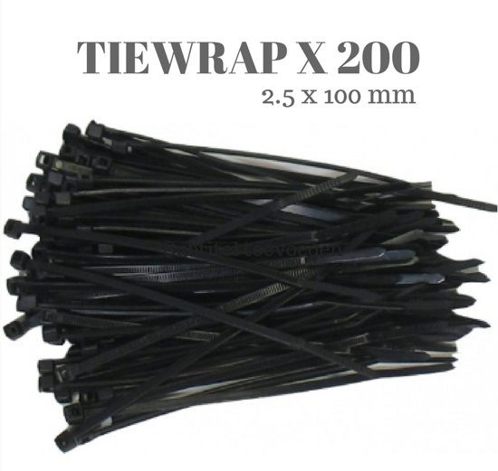23aa47e1051b bol.com | Tie wraps kabelbinders Cable Ties zwart 0.25 x 10 cm