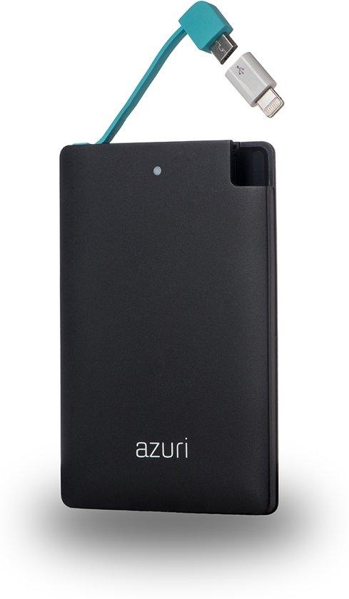 Azuri powerbank  met Micro USB, USB type C en Lightning - 4.000 mAh - Zwart