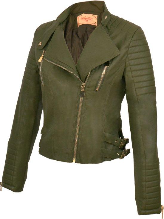 groene biker jas