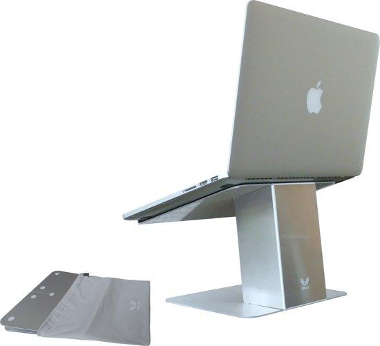 "OviStand Rise | Lichtgewicht Opvouwbare Laptop Standaard | Ergonomische Notebook Tower| Scherm komt op 44cm ooghoogte bij 15"" | Vouwt op tot 6mm dikte | MacBook, Asus, HP, ACER, Microsoft, Lenovo t/m 15.6"" | Aluminium Laptop Steun Mobiel gebruik"
