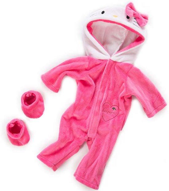 Poppenkleding roze - Hello Kitty onesie voor poppen zoals Baby born met lengte tot 43 cm