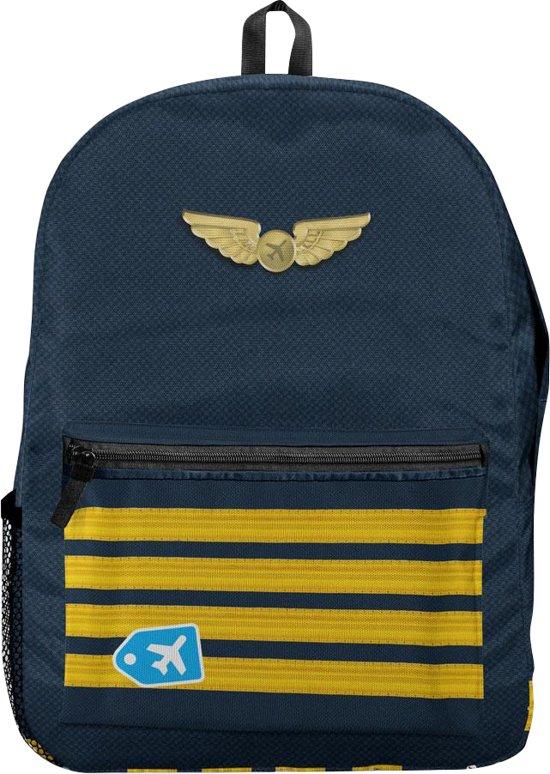 Vliegtuigen patroon Rugzak Backpack Schooltas Zwart Voor ReizenVakantieSchool