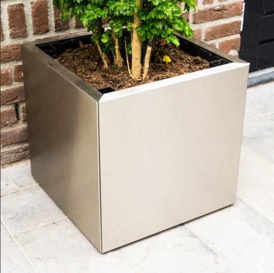 Yoepplanter Plantenbak Set  - 3x Innovatie: Koppelbare Verrijdbare en Wisselbaar Design - Grote Bloembak Bloempot Plantenpot - Binnen Buiten Tuin Balkon en Huiskamer - Groot 40x40x40 Vierkant  RVS