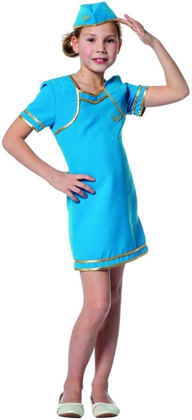 Stewardess Kostuum | Blauw Als De Lucht Stewardess | Meisje | Maat 164 | Carnaval kostuum | Verkleedkleding