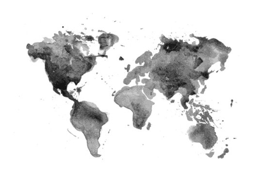 top honderd | wereldkaart aquarel zwart wit poster 60x40 cm