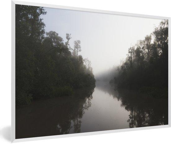 Foto in lijst - Tropische vegetatie langs de Sekonyer rivier in Tanjung Puting op Borneo fotolijst wit 60x40 cm - Poster in lijst (Wanddecoratie woonkamer / slaapkamer)