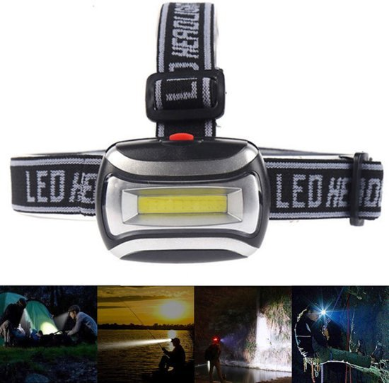 Hoofdlamp LED Waterdicht – 600 Lumen - Werkt op 3x AAA batterijen - Voor Hardlopen, Camping, Vissen etc. - Lichtgewicht