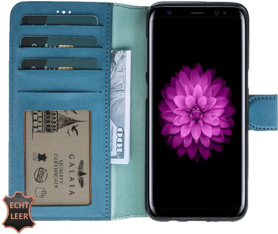 GALATA® Echt leer book wallet ID - Samsung Galaxy S8 - blauw - Transparant ID vak in Nieuwe Vaart / Nije Feart