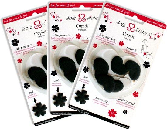 Cupids van Sole Sisters - Beschermende kussentjes tegen blaren – zwart – 3 paar