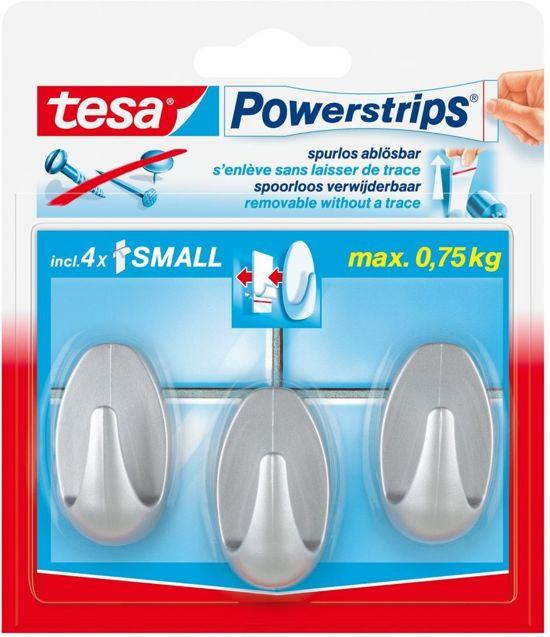 Bolcom Tesa Powerstrips Haken Ovaal Small Mat Chroom 3 Stuks