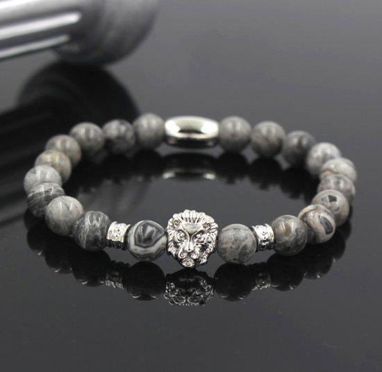 Victorious - Armband Grijs/Wit/Zwart Natuursteen - zilverkleurige Leeuw - Vanaf 14 cm