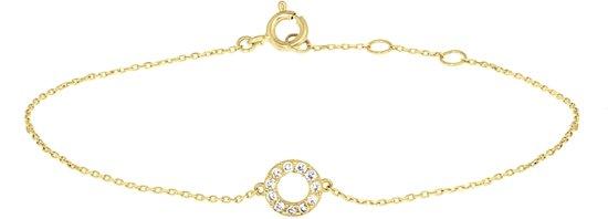 The Jewelry Collection Armband Rondjes Zirkonia 0,8 mm 16,5 - 18,5 cm - Geelgoud