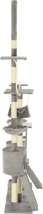 vidaXL Kattenkrabpaal met sisal krabpalen 230-250 cm grijs