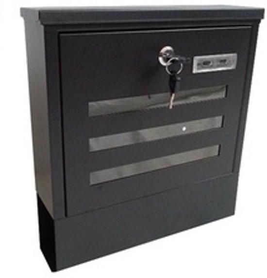 Grafner - RVS Zwarte brievenbus vierkant