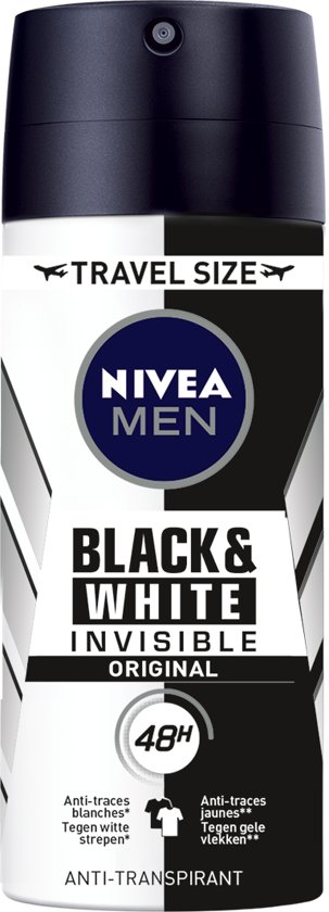 NIVEA MEN Invisible for Black & White Original - 100 ml - Travelsize - Deodorant Spray