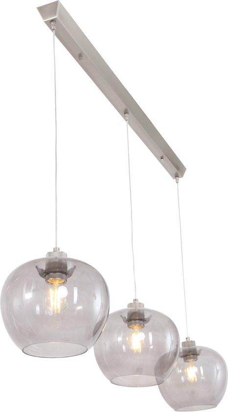 moderne glazen hanglamp steinhauer - lotus staal en grijs – hanglamp glas -  1330st