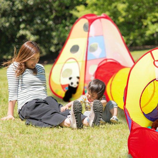 relaxdays ballenbak met tunnel - 100 ballen - pop-up speeltent - driedelig - binnen buiten