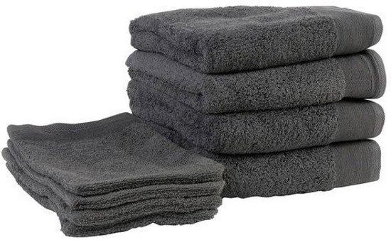 Walra Handdoeken en Washandjes - Badgoedset - Antraciet - Set van 8