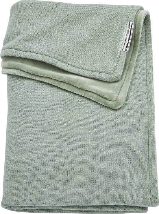 Meyco ledikantdeken Knit Basic met velvet - 100x150 cm - stone green