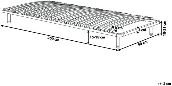 Beliani Lattenbodem 90x200 cm - vrijstaande lattenbodem - BASIC