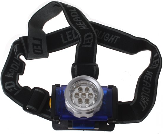 Dunlop Hoofdlamp - LED - verstebare hoofdband - 4 functies - 4 X 7 cm - Blauw/zwart