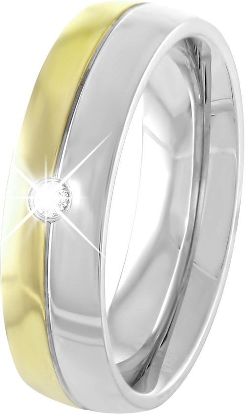 Lucardi - Stalen ring  staal/gold met zirkonia