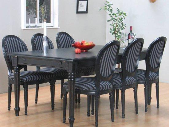 Mozart eethoek tafel met 6 zwarte stoelen for Zwarte eetkamerstoelen