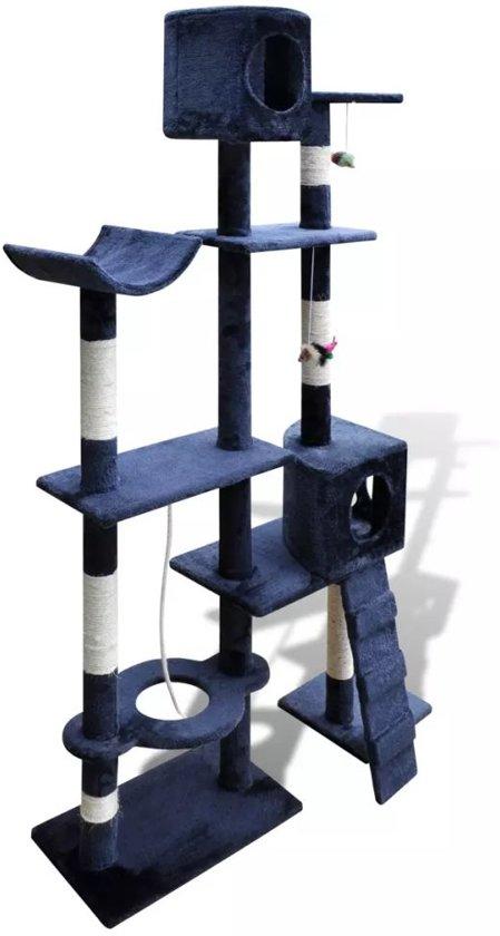 Krabpaal Tommie - 175 cm 2 huisjes donker- Blauw