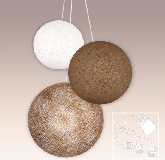 iGlowbes - Hanglamp - Sandy - 3 Lichts - Bruin, Wit - Ø52 cm + Ø42 ...