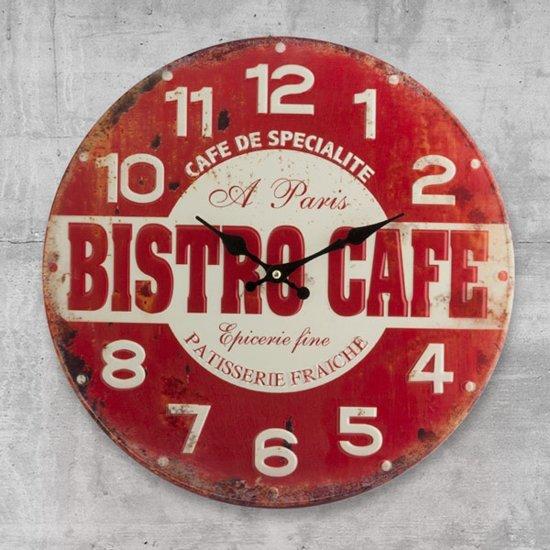 Bistro Cafe Wandklok - Klok - Rond - Metaal - Ø40 cm - Rood