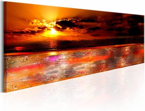Schilderij - Gouden zonsondergang