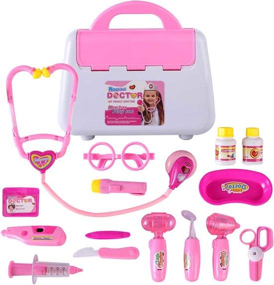 Een dokter set voor kinderen met 16 afzonderlijke stukken en een stevige plastic doos- roze