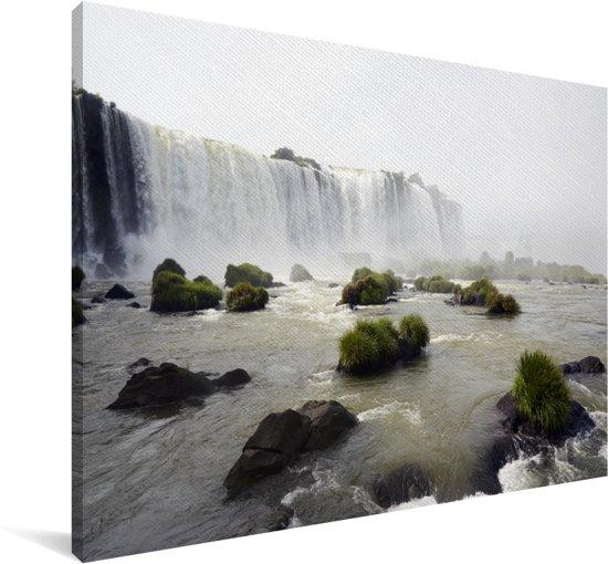 Woeste watervallen dalen neer in de rivieren van het Nationaal park Iguazú Canvas 120x80 cm - Foto print op Canvas schilderij (Wanddecoratie woonkamer / slaapkamer)