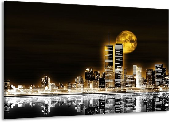 Canvas schilderij Nacht   Geel, Bruin, Zwart   140x90cm 1Luik