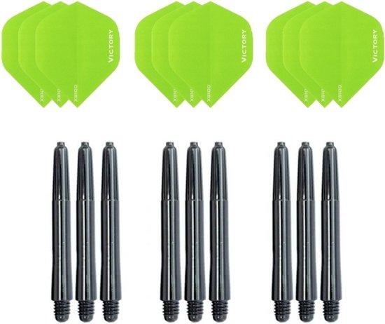 3 sets (9 stuks) Super Sterke Groene Poly XS100 - flights - en 3 sets (9 stuks)  zwarte - shafts