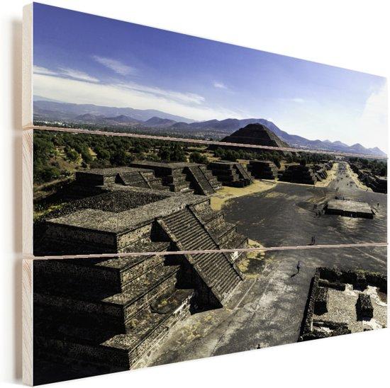 Uitzicht vanaf de Maan Piramide over de Teotihuacán piramides Mexico Vurenhout met planken 30x20 cm - klein - Foto print op Hout (Wanddecoratie)