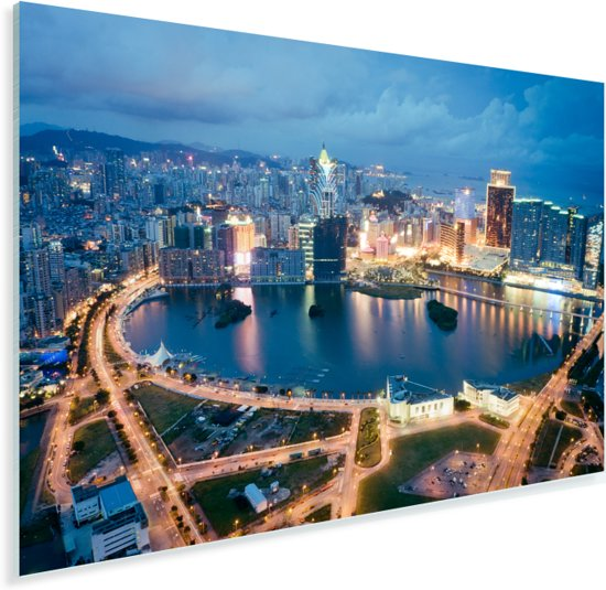 Stadsgezicht van het oud Portugese Macau bij schemering Plexiglas 120x80 cm - Foto print op Glas (Plexiglas wanddecoratie)