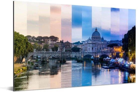 Vaticaanstad van dag tot nacht bij de Sint-Pietersbasiliek in Italië Aluminium 60x40 cm - Foto print op Aluminium (metaal wanddecoratie)