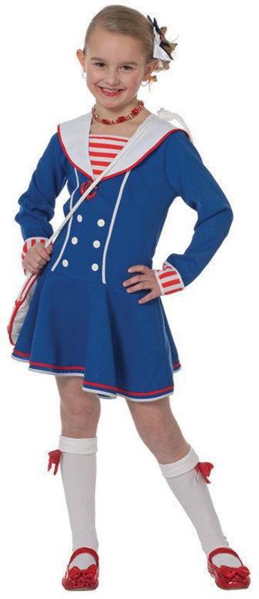 db9dd67a3a6586 Carnavalskleding Matrozen meisje blauw wit jurkje Maat 104