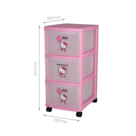Hello Kitty Opbergrek.Hello Kitty Ladekastje Met 3 Lades Incl Wielen Roze Transparant