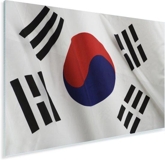 Close-up van de vlag van Zuid-Korea Plexiglas 60x40 cm - Foto print op Glas (Plexiglas wanddecoratie)