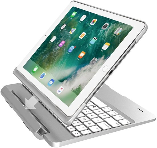 iPad 2018/Pro 9.7/2017/Air 2/Air 1 Toetsenbord hoesje - CaseBoutique Keyboard Case - Zilver - QWERTY Indeling