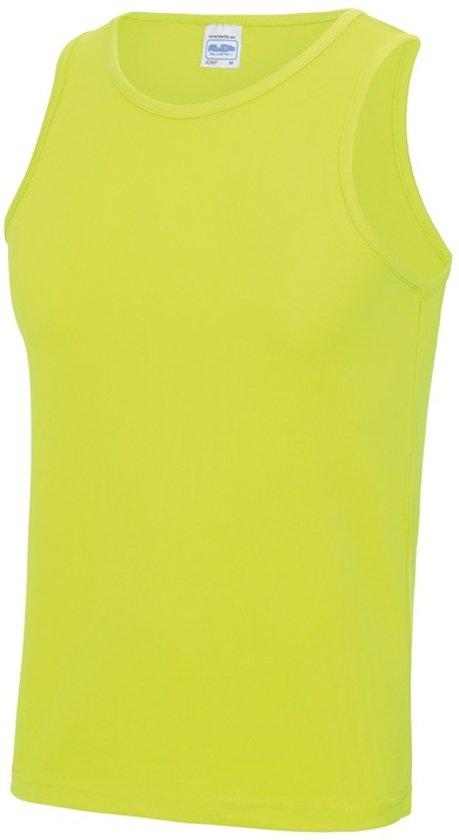 Sport hardloop singlet neon geel voor heren - Heren sportkleding hemd/top fluor geel M (40/50)